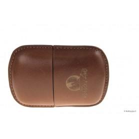 Leather sewn by hand cigar case Stortignaccolo for 3 Scorciato - Tan