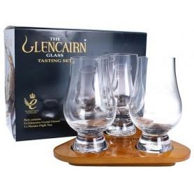 The Glencairn - Glencairn official whisky glass test set 2 bicchieri, brocca per acqua, Con Vassoio In Legno Sagomato