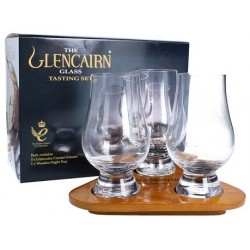 The Glencairn - Glencairn official whisky glass test set 2 bicchieri, brocca per acqua, Con Vassoio In Legno Sagomato