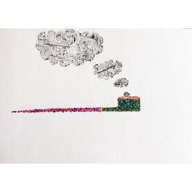Gustave de la Reine - Quadro A4 Inchiostro e Acrilico su carta telata 300gr - Oval Long