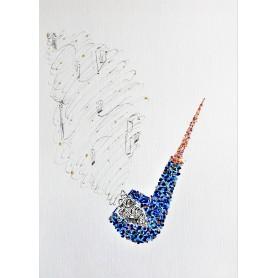 Gustave de la Reine - Quadro A4 Inchiostro e Acrilico su carta telata 300gr - Apple in blu