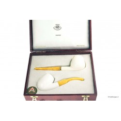 A.Bauer Box with 2 meerschaum pipes with amber mouthpieces