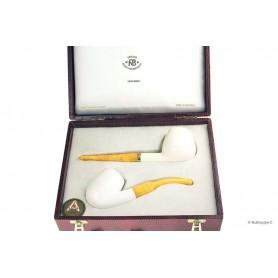 Cofanetto A.Bauer con 2 pipe in Schiuma con bocchino in ambra